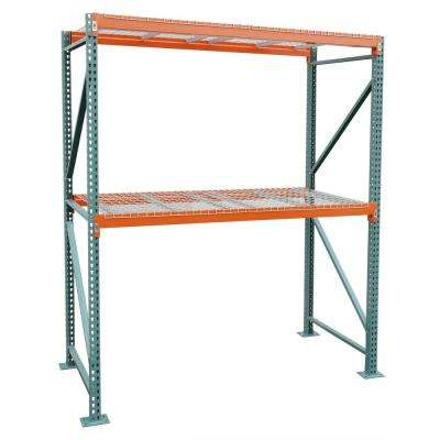 42 in. D x 108 in. W x 120 in. H Steel Heavy Duty 2-tier with Wire Decking Pallet Rack Starter Unit