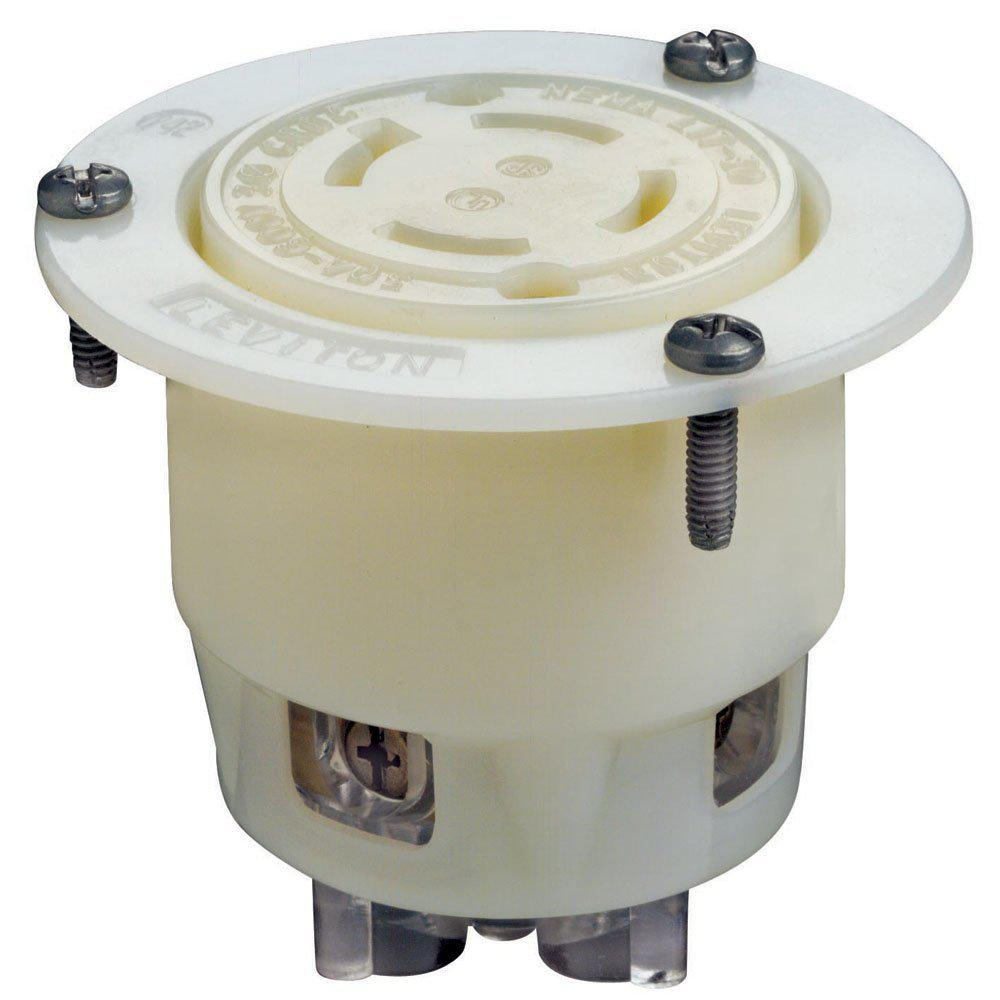 Leviton 30 Amp 600 Volt 3 Phase Flanged Outlet Grounding Locking Wiring Plugs Receptacle White