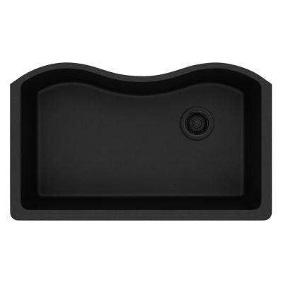 Quartz Classic Undermount Composite 33 in. Single Bowl Kitchen Sink in Black