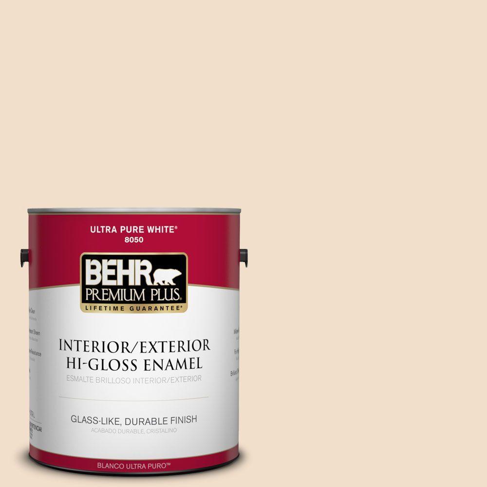 BEHR Premium Plus 1-gal. #S250-1 Macaroon Cream Hi-Gloss Enamel Interior/Exterior Paint