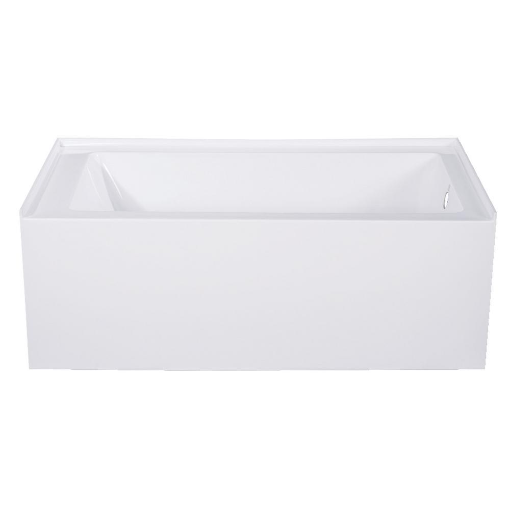 Kingston Brass Aqua Eden Jenny 54 in. Acrylic Right-Hand Drain Rectangular Alcove Bathtub in White