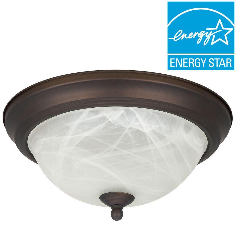 Envirolite 1-Light Oil Rubbed Bronze Energy Star Flush Mount with Frosted Glass
