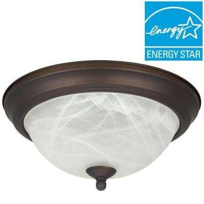 Envirolite 1-Light Oil Rubbed Bronze Energy Star Flush Mount with Frosted Glass