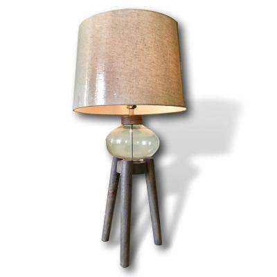 31 in. Glass and Wood Accent Tripod Table Lamp with Off-White Linen Shade