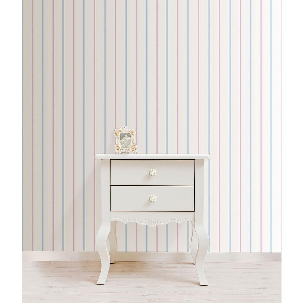 White Little Tailor Pinstripe Wallpaper