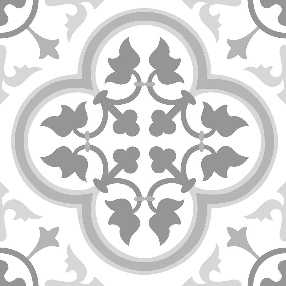 FloorPops FloorPops Remy Peel and Stick 12 in. x 12 in. Floor Tile (20 Tiles / 20 sq. ft.), Grey