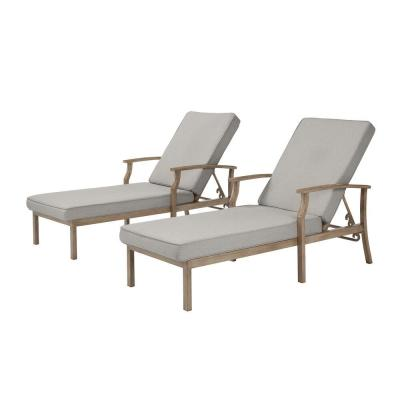 Beachside Rope Look Wicker Outdoor Patio Chaise Lounge with CushionGuard Stone Gray Cushions (2-Pack)