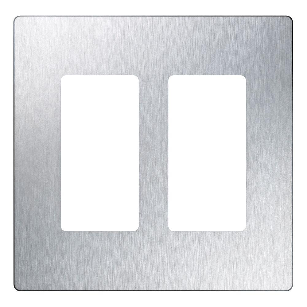 Lutron Claro 2 Gang Decorator Wallplate Stainless Steel  sc 1 st  Home Depot & Lutron Claro 2 Gang Decorator Wallplate Stainless Steel-CW-2B-SS ...