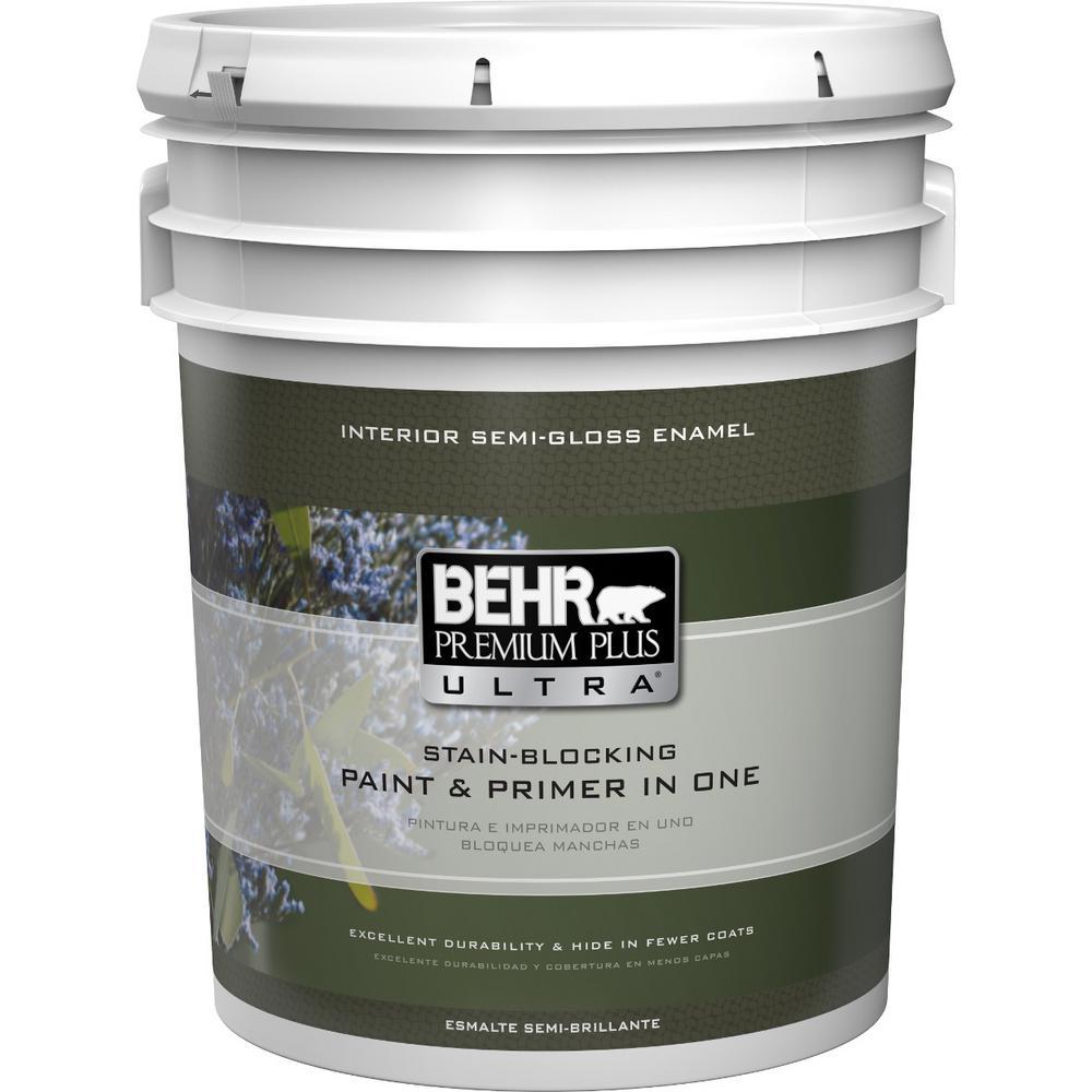 5 gal. Enamel Ultra Pure White Semi-Gloss Interior Paint
