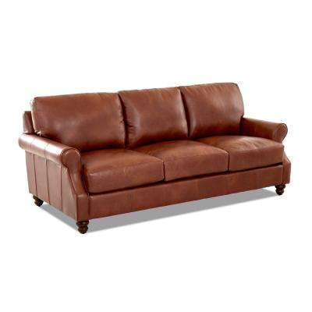 Winston Leather Down Blend Oversized Sofa in Chestnut