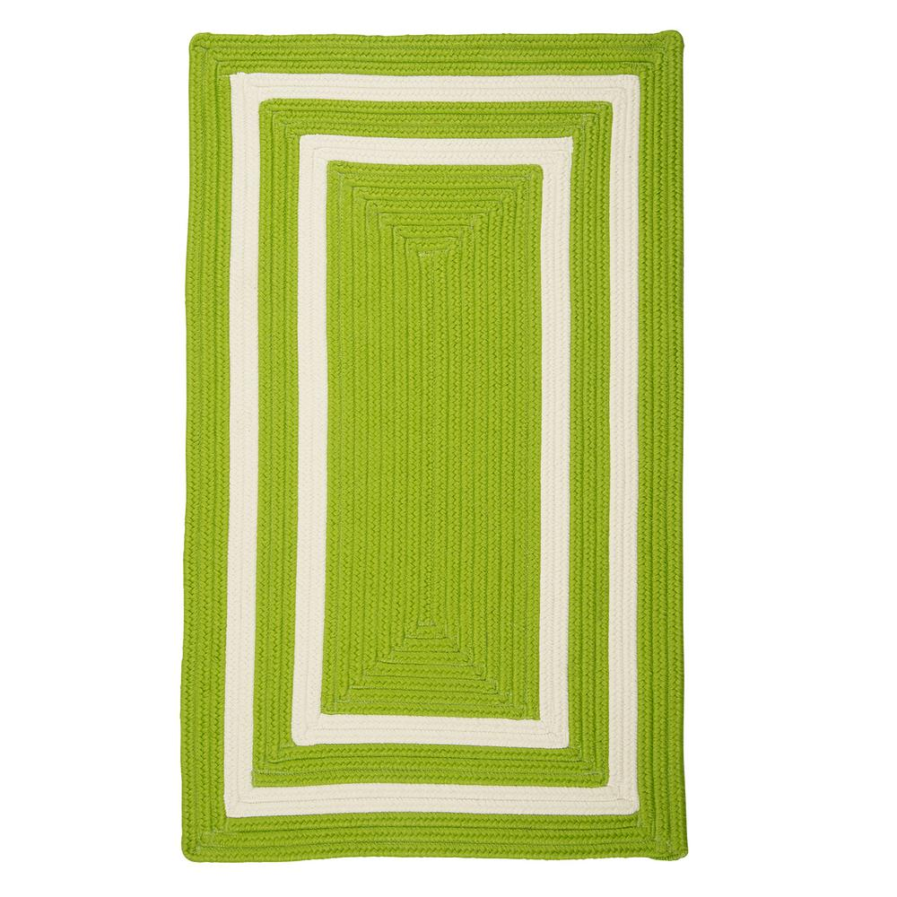 Griffin Border Lime/White 5 ft. x 8 ft. Braided Indoor/Outdoor Area
