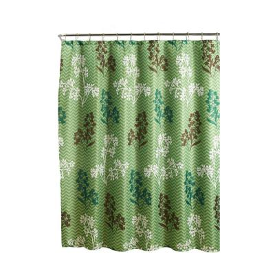 Diamond Weave Textured 70 in. W x 72 in. L Shower Curtain with Metal Roller Rings in Whimsy Leaves Sage
