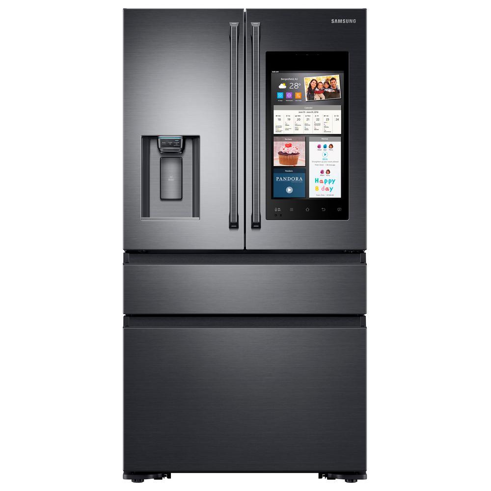 Samsung 22.6 cu. Ft. Family Hub 4-Door French Door Polygon Handle Smart Refrigerator in Black Stainless Steel, Counter Depth