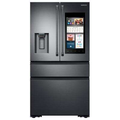 22.2 cu. ft. Family Hub 4-Door French Door Refrigerator with Polygon Handle in Black Stainless Steel, Counter Depth