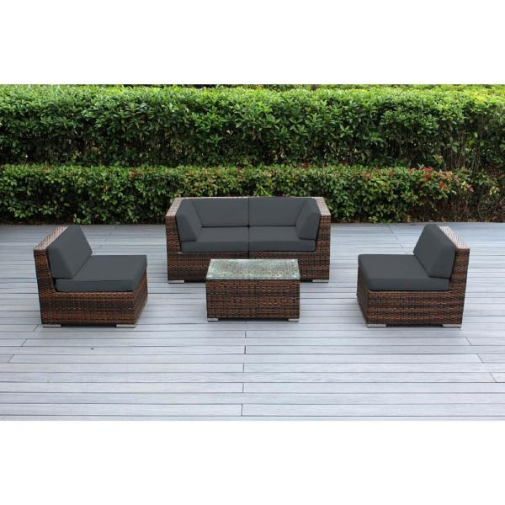 Ohana Mixed Brown 5-Piece Wicker Patio Seating Set with Sunbrella Coal Cushions