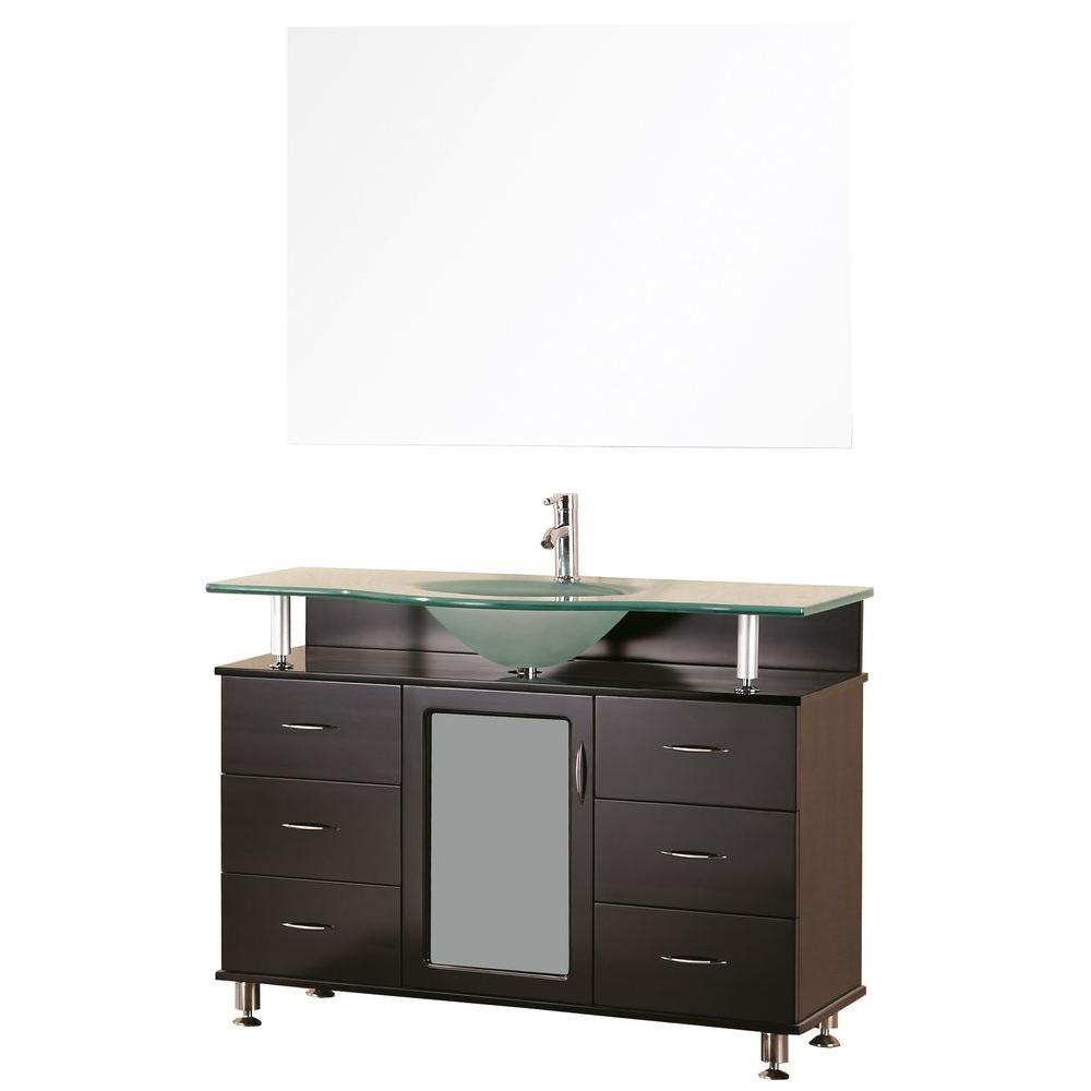 Design Element Huntington 48 in. W x 22 in. D Vanity in Espresso with Glass Vanity Top in Aqua