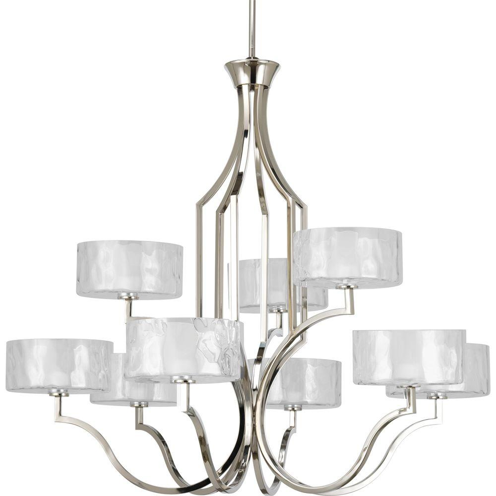 Caress Collection 9-Light Polished Nickel Chandelier with Shade
