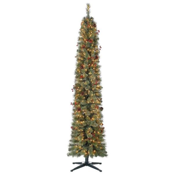 Stanley 7 ft. Skinny Pencil Pine Pre Lit and Decorated Christmas Tree