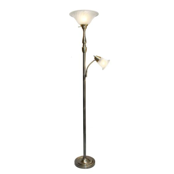 2-Light 71 in. Mother Daughter Antique Brass Floor Lamp with White Marble Glass