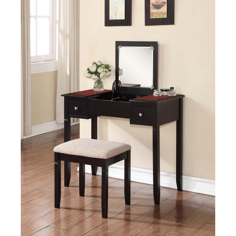 Bon Camden 2 Piece Black Cherry Vanity Set