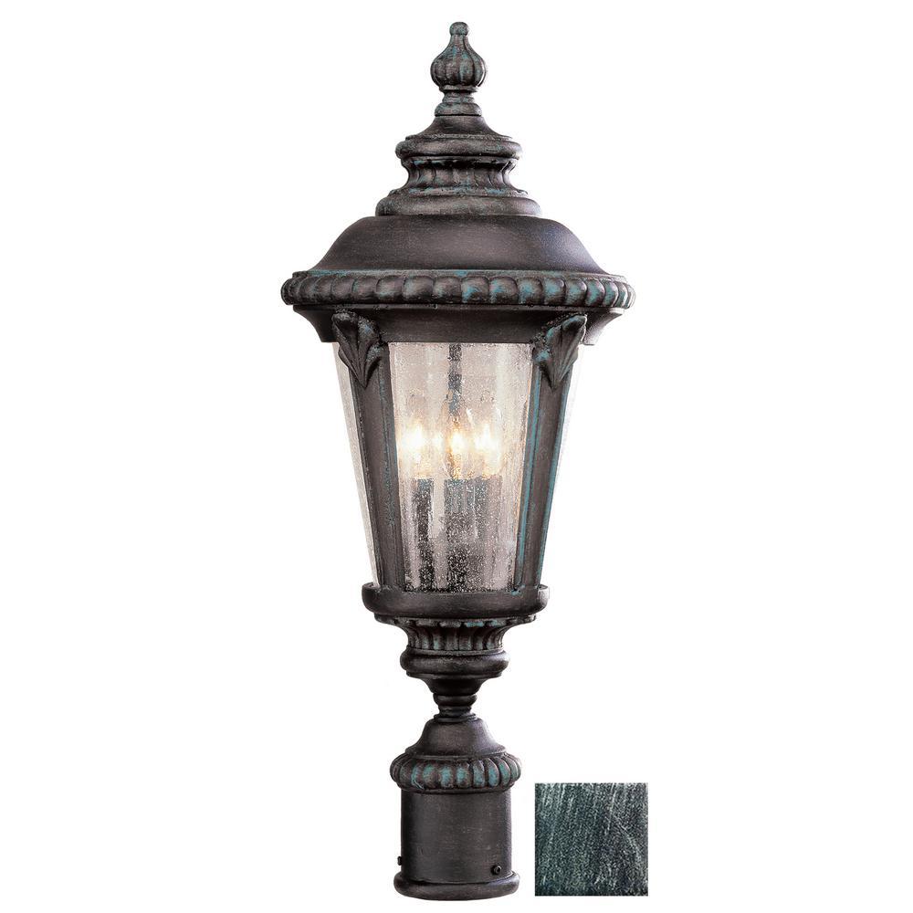 Commons 24 in. 3-Light Swedish Iron Outdoor Postmount Lantern