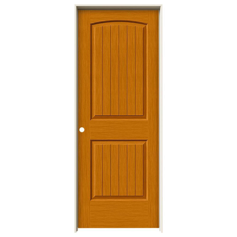 Jeld Wen 32 In X 80 In Hardwood Unfinished Flush Solid: JELD-WEN 32 In. X 80 In. Santa Fe Saffron Stain Right-Hand