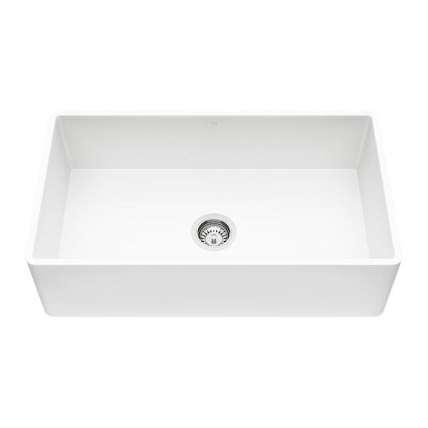 Matte Stone White Composite 33 in. Single Bowl Reversible Flat Farmhouse Apron-Front Kitchen Sink with Strainer