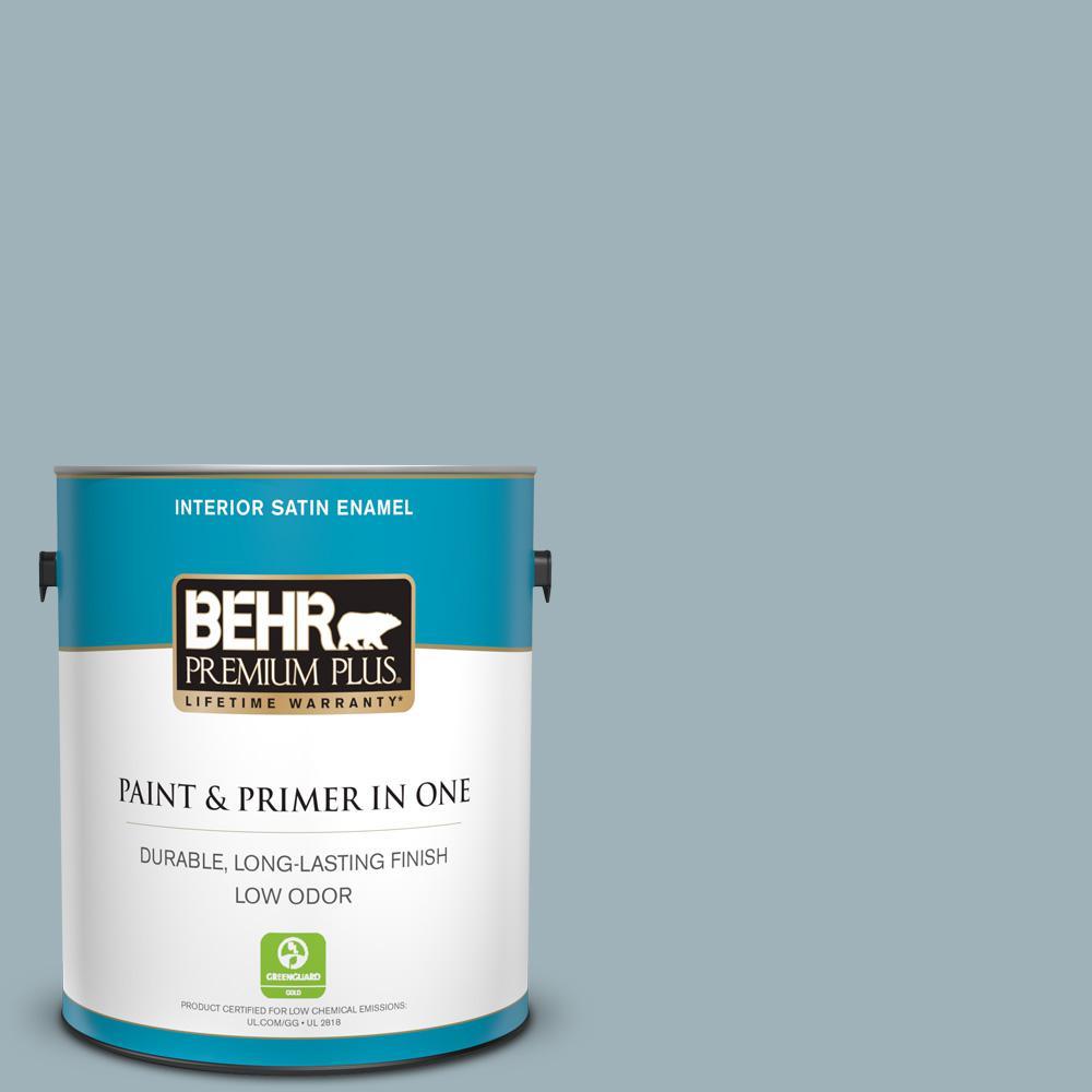 BEHR Premium Plus 1 gal  #N470-5 Norwegian Blue Satin Enamel
