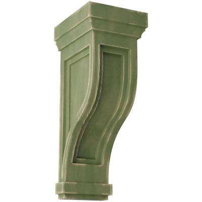 6-1/2 in. x 14 in. x 6-1/2 in. Restoration Green Traditional Recessed Wood Vintage Decor Corbel
