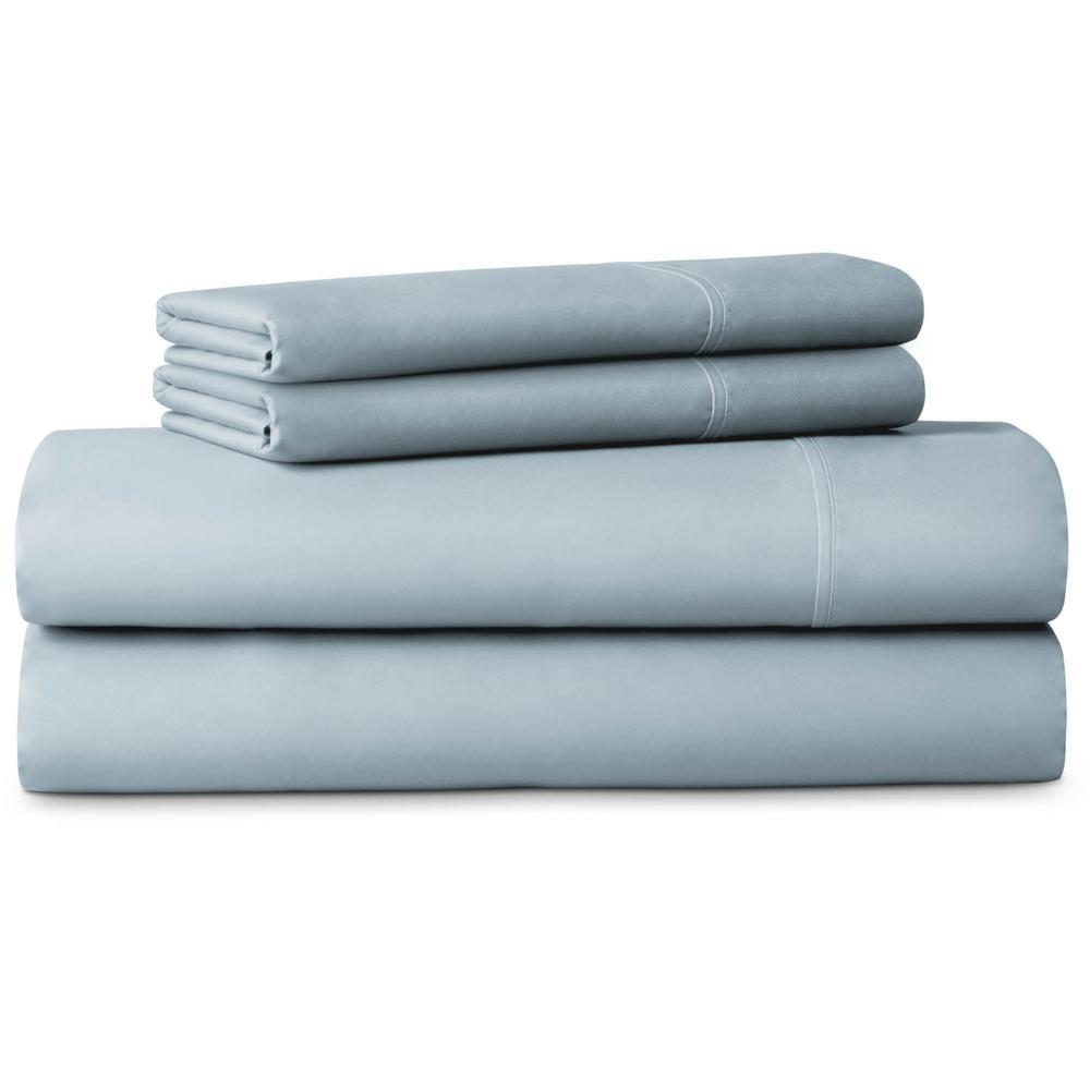 LUCID 4-Piece Brushed Microfiber Blue King Size Sheet Set LU90KKPAMS