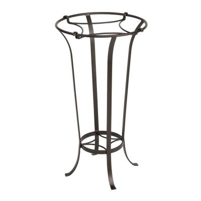 28 in. Tall Roman Bronze Powder Coat Iron Tulip Plant Stand with Insert