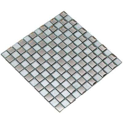 Bella/04, Silver, 4 in. x 4 in. x 8 mm Glass Mesh-Mounted Mosaic Tile Sample