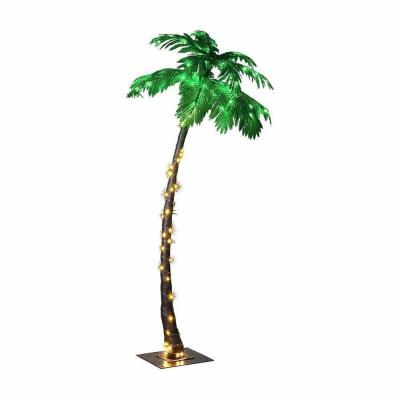 7 ft. Pre-Lit LED Palm Artificial Christmas Tree with Green Leaves and 96 LED Lights