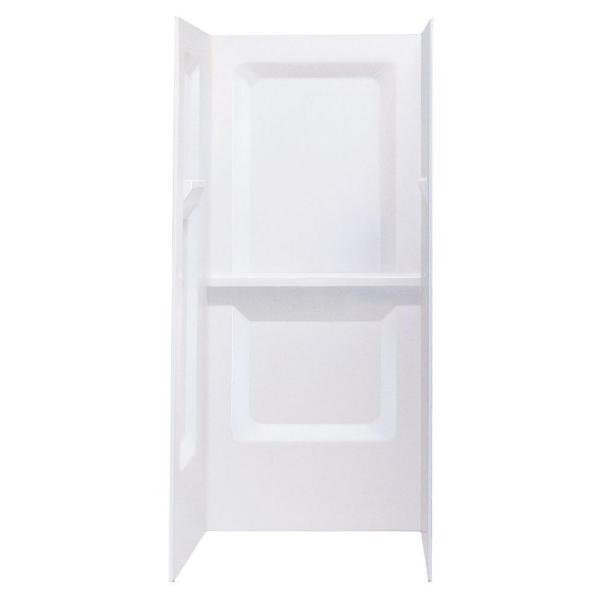Durawall 32 in. x 32 in. x 73-1/4 in. 3-Piece Direct-to-Stud Alcove Shower Wall Set in White