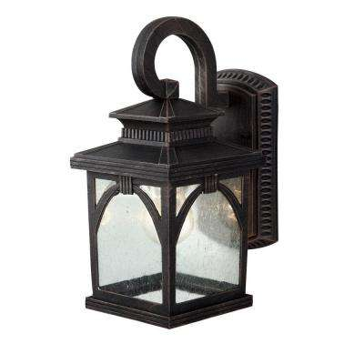 Asher Brushed Bronze Outdoor Wall Lantern with Seeded Glass