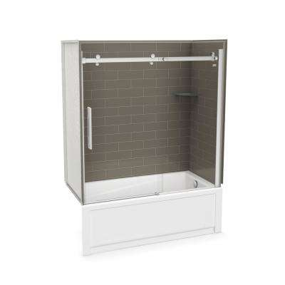 Utile Metro 30 in. x 59.8 in. x 81.4 in. Right Drain Alcove Bath and Shower Kit in Thunder Grey with Chrome Door