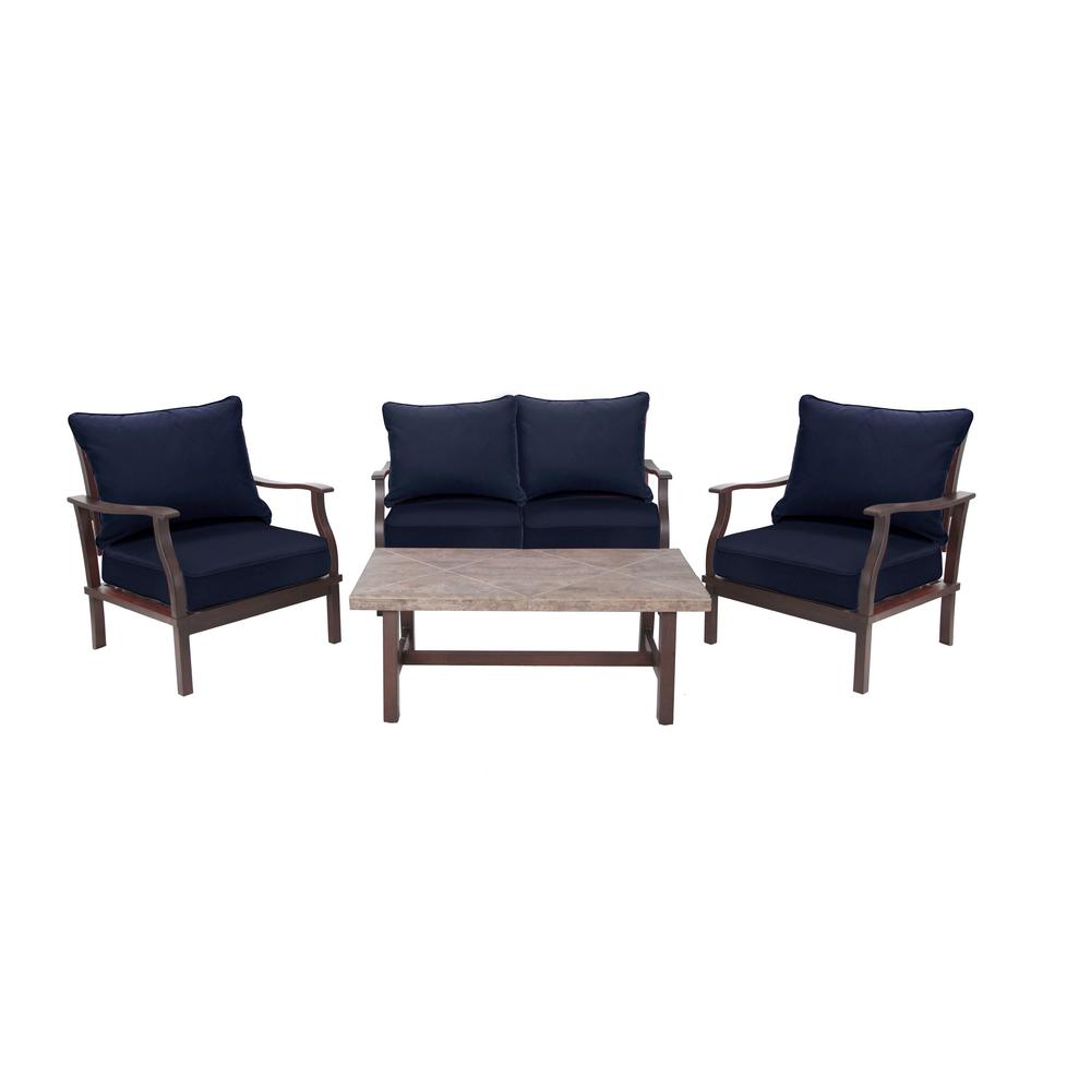 Dayton 4-Piece Aluminum Deep Patio Seating Set with Sunbrella Navy Blue