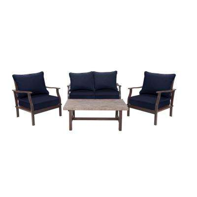 Dayton 4-Piece Aluminum Deep Patio Seating Set with Sunbrella Navy Blue Cushions
