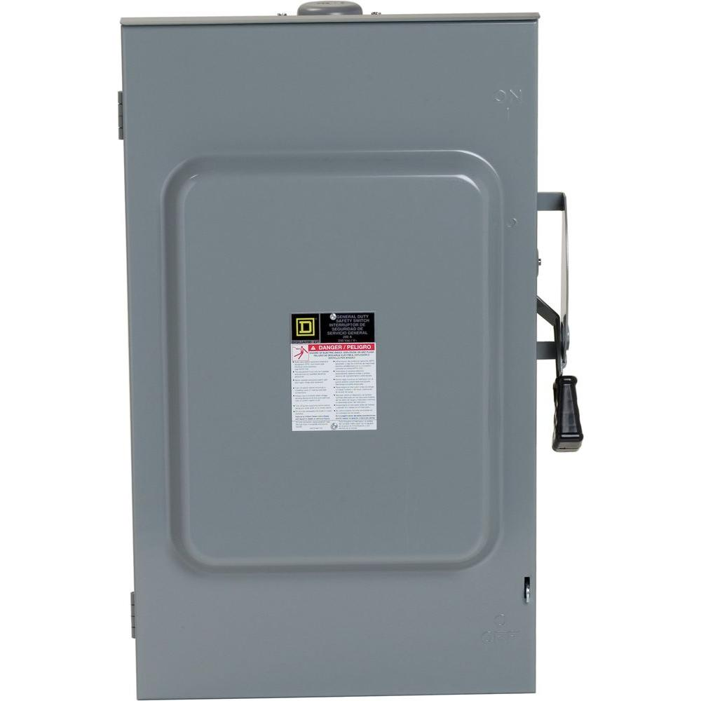 Square D 200 Amp 240-Volt 3-Pole 3-Phase Non-Fuse Outdoor General ...