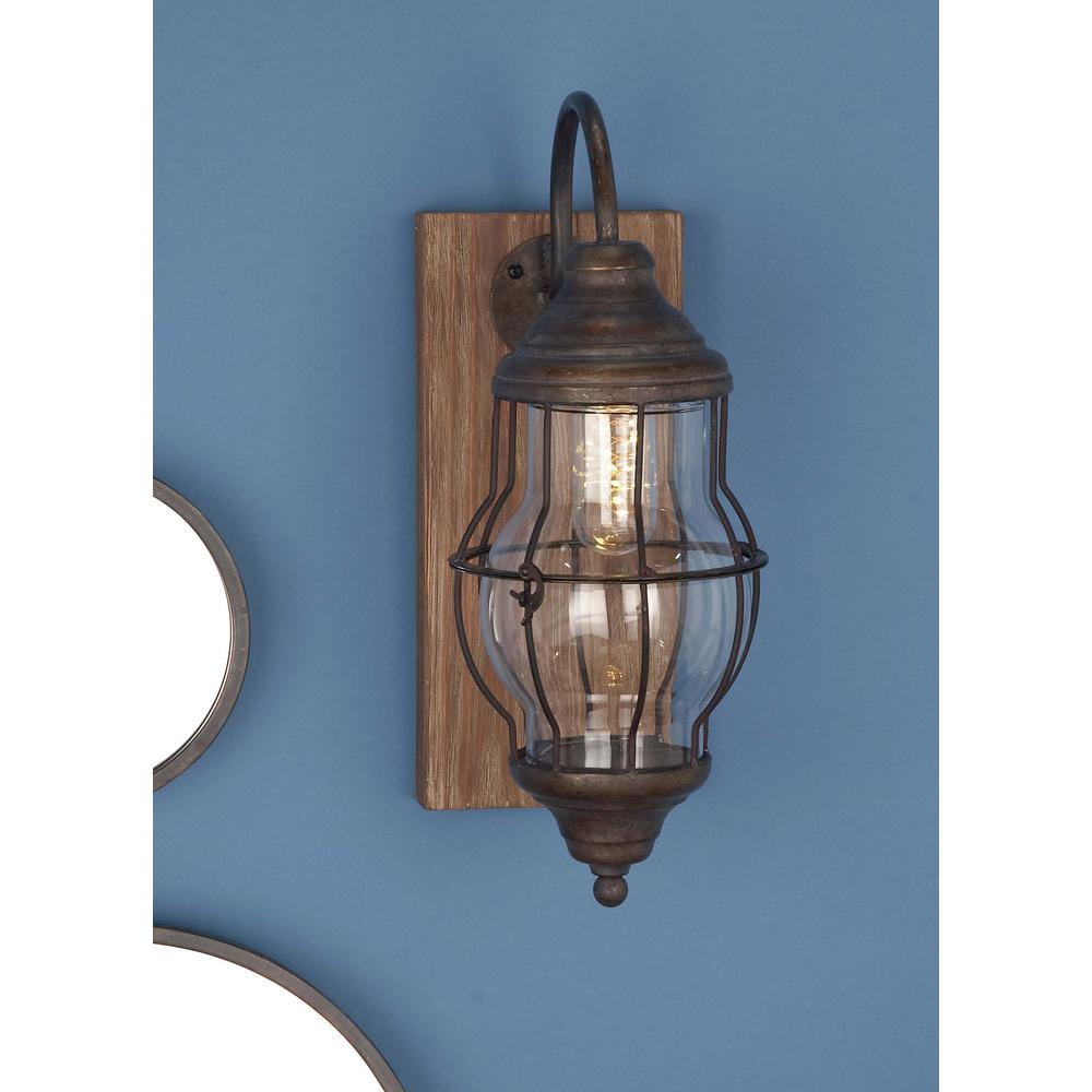 huge selection of 0d60f 4c19c 17 in. Brown Wood and Iron LED Wall Sconce