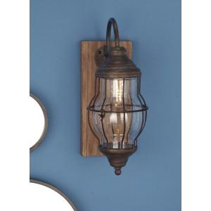 17 In Brown Wood And Iron Led Wall Sconce