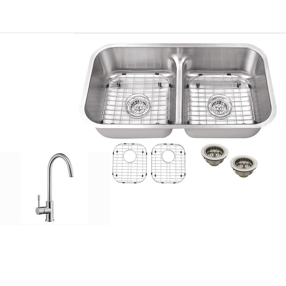 Ipt sink company undermount 33 in 18 gauge stainless steel kitchen ipt sink company undermount 33 in 18 gauge stainless steel kitchen sink in brushed stainless workwithnaturefo
