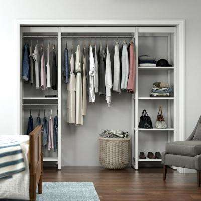"Closet Storage 16.75""D x 91""W x 84""H White Wood & Aluminum Customizable Decorative Storage Organizer Closet System"