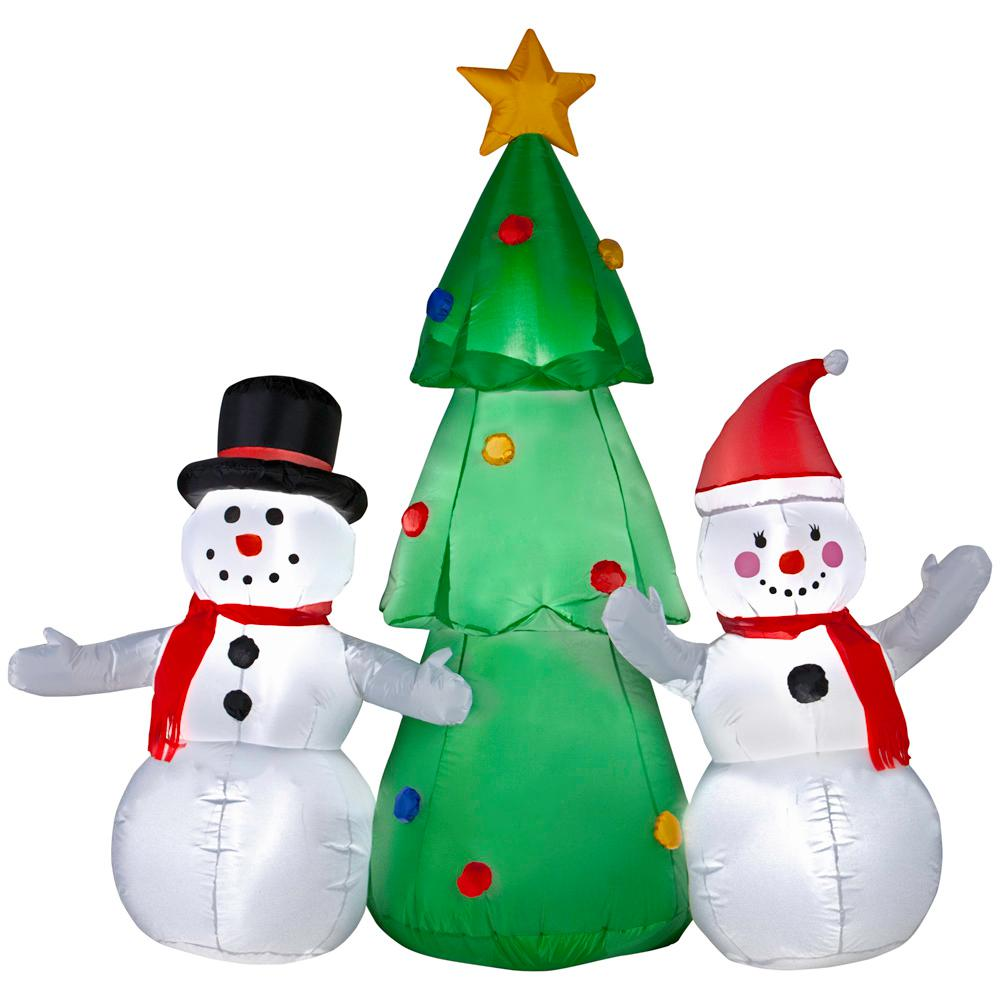 w pre lit inflatable snowman family topping the tree ariblown