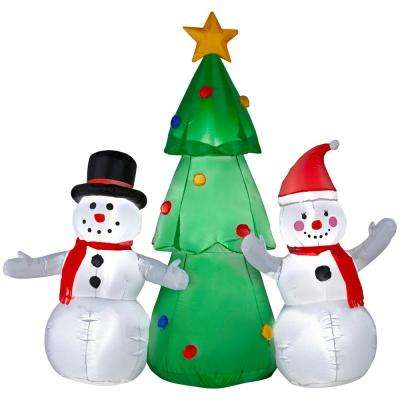5.50 ft. W Pre-lit Inflatable Snowman Family Topping The Tree Ariblown Scene