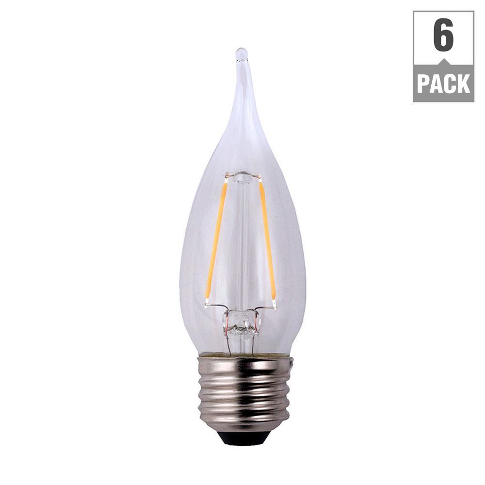 25-Watt Equivalent B11 Flame Tip E26 Base Dimmable Clear Glass Filament LED Light Bulb Soft White (6-Pack)