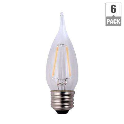 25-Watt Equivalent B11 Flame Tip E26 Base Dimmable Clear Glass Filament LED Light Bulb Soft White (6-Pack)