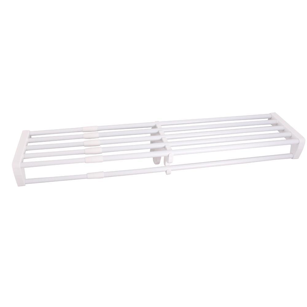 Expandable Closet Rod and Shelf Units with 1 End Bracket Finish White