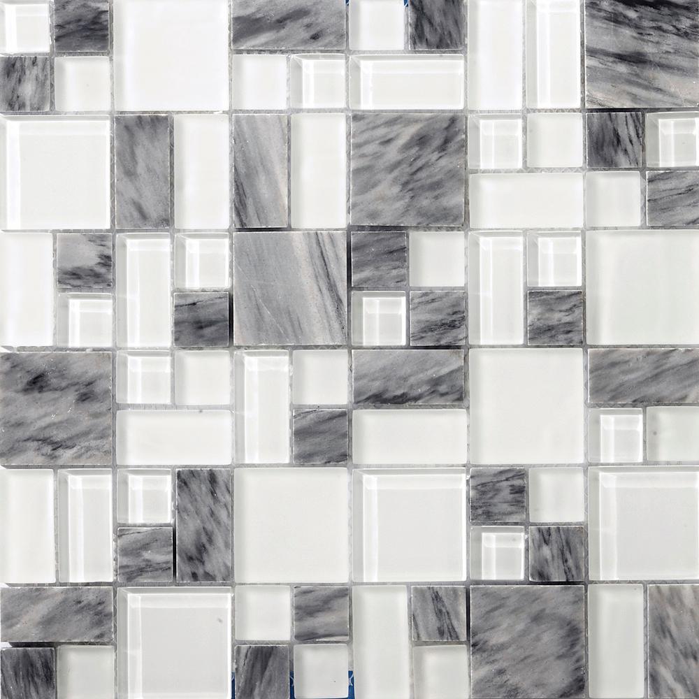Lucente Grazia Gloss/Matte Mix 12.76 in. x 12.76 in. x 8mm Glass Mesh-Mounted Mosaic Tile