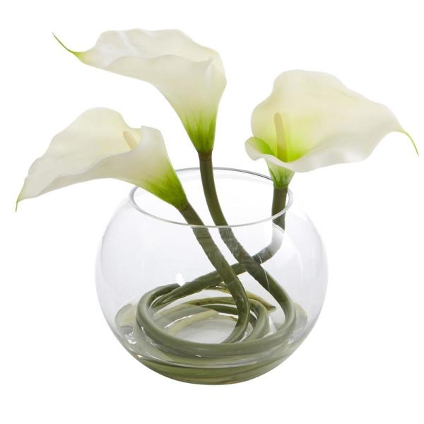 Nearly Natural 9 in. High White Calla Lily Artificial Arrangement in